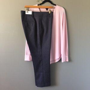 Ann Taylor • Navy Print Dress Slacks